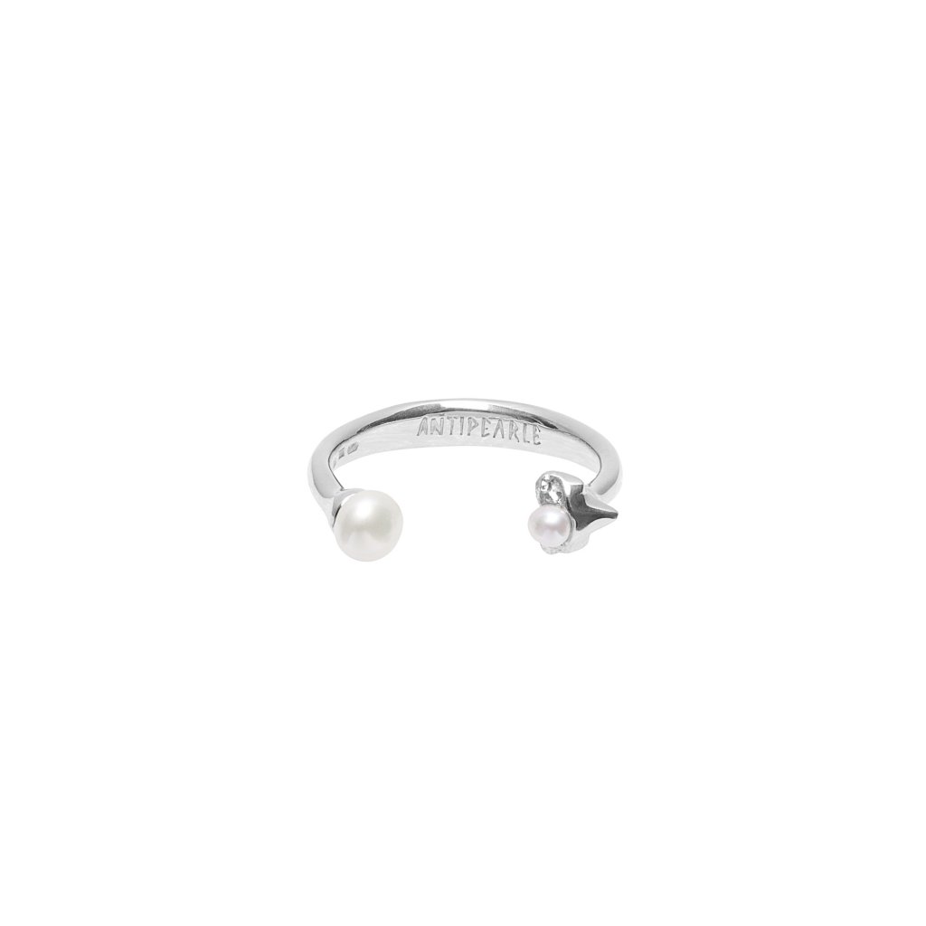 Petite A double pearl ring - 14kt white Gold