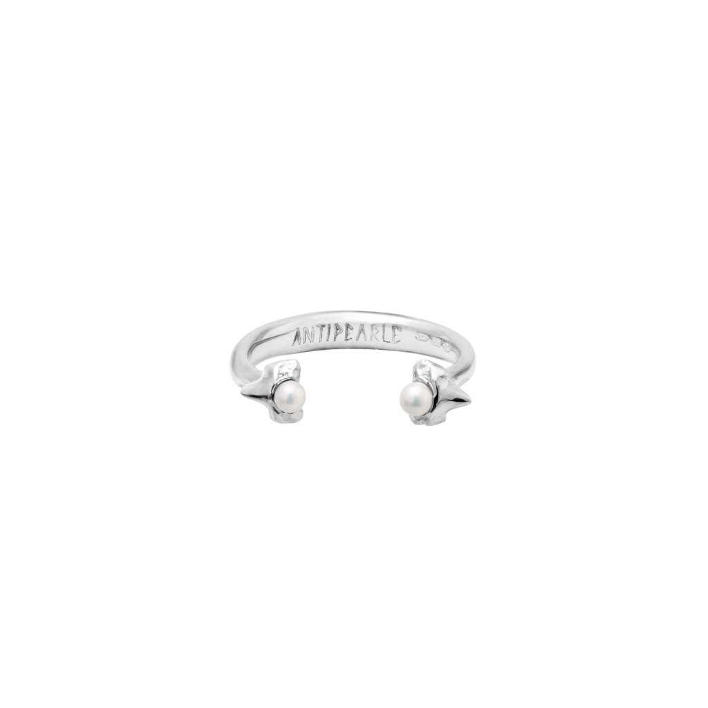 Petite A double tooth ring - 14kt white gold