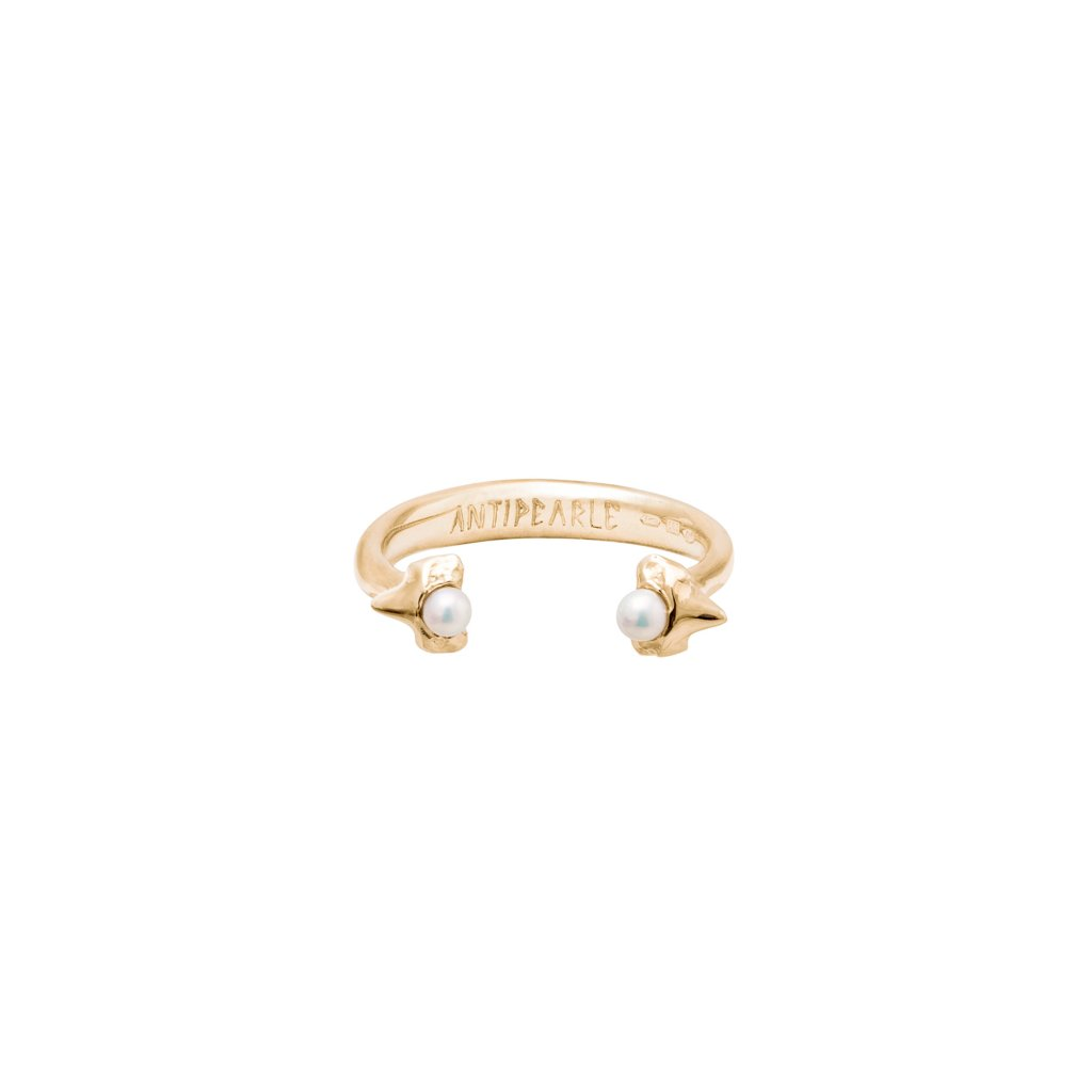 Petite A double tooth ring - gold-plated silver