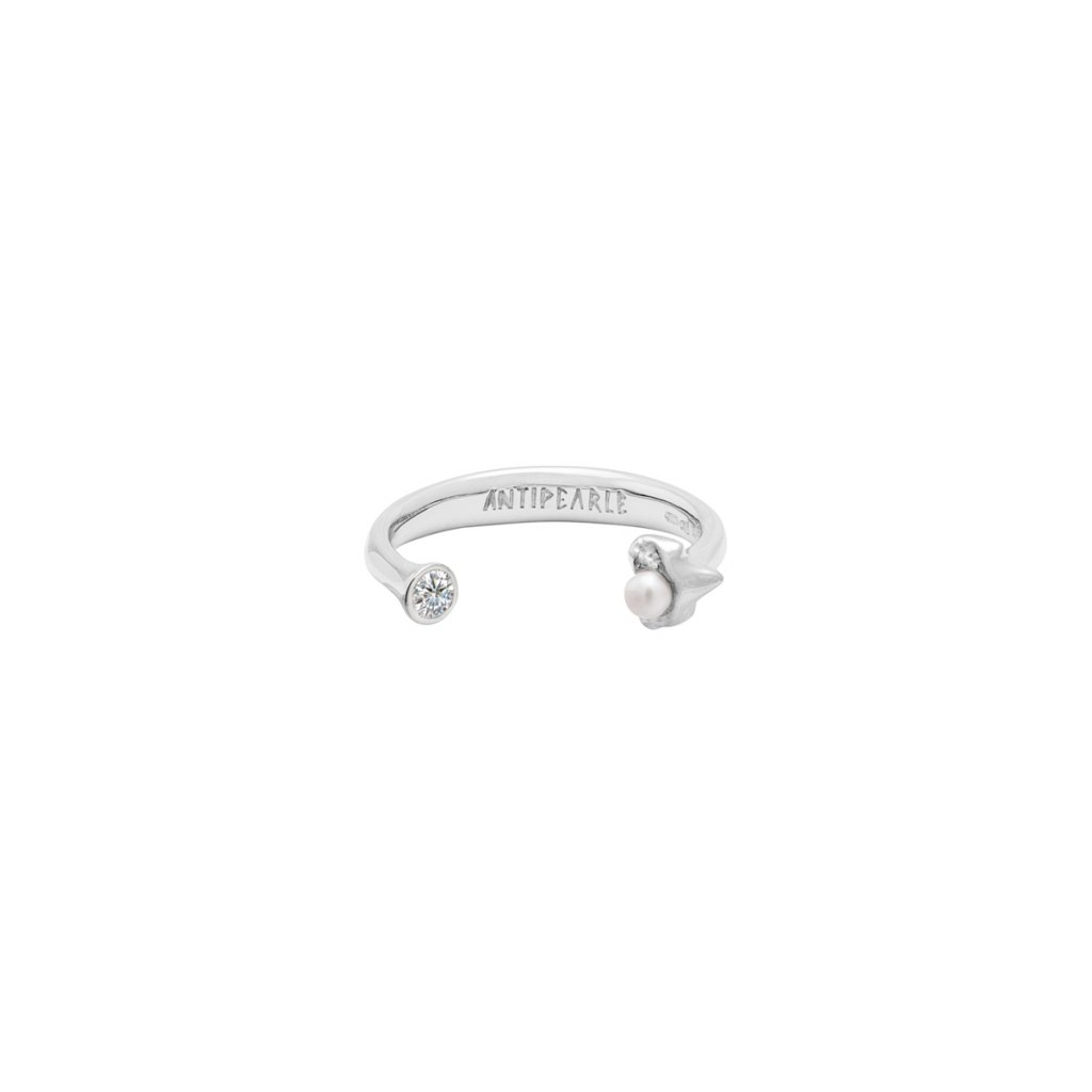 Petite A double ring Brilliant - 14kt white Gold