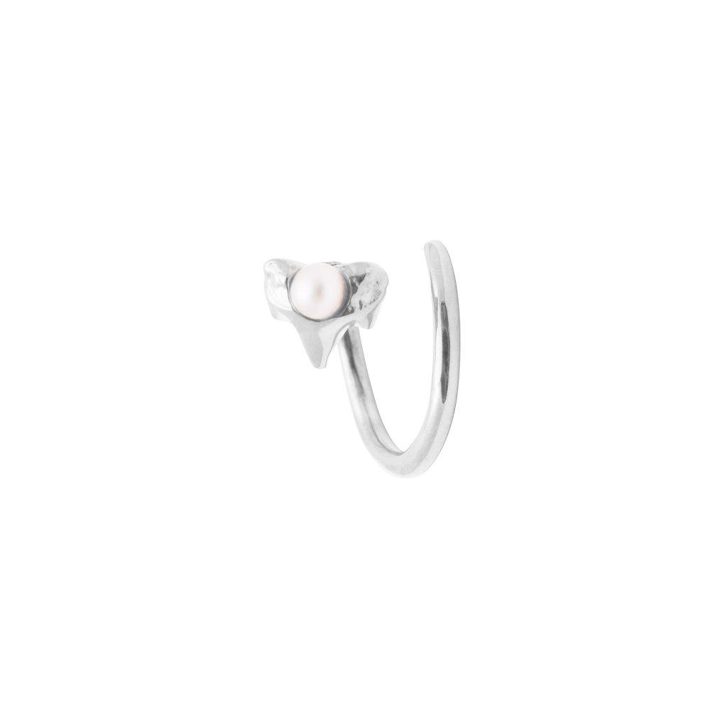 Petite A twist earring Left - 14kt white Gold