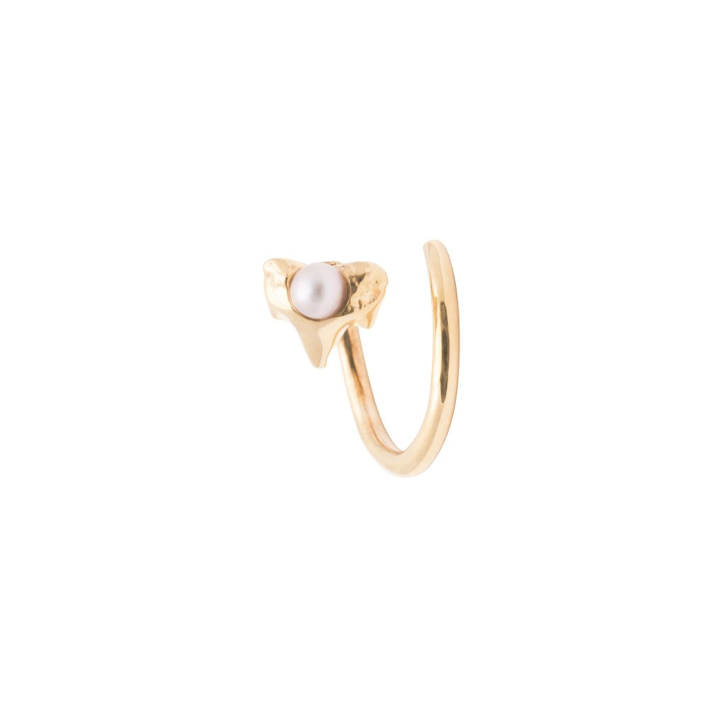 Petite A twist earring Left - 14KT yellow Gold