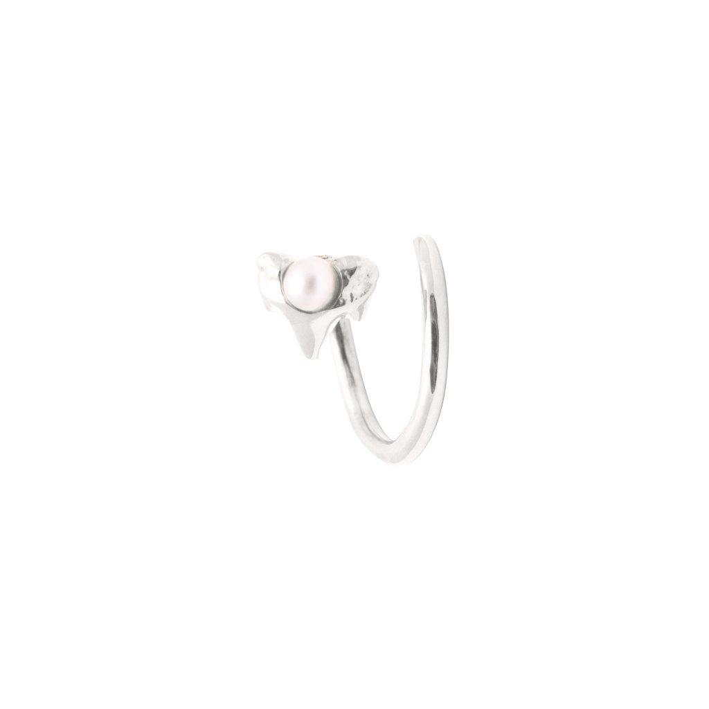 Petite A twist earring Left - silver