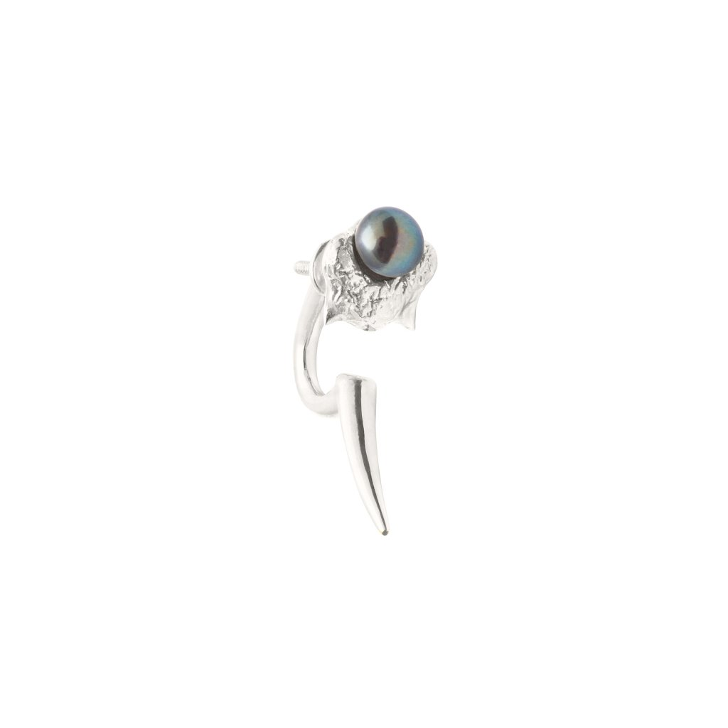Mini blacktip earring - silver