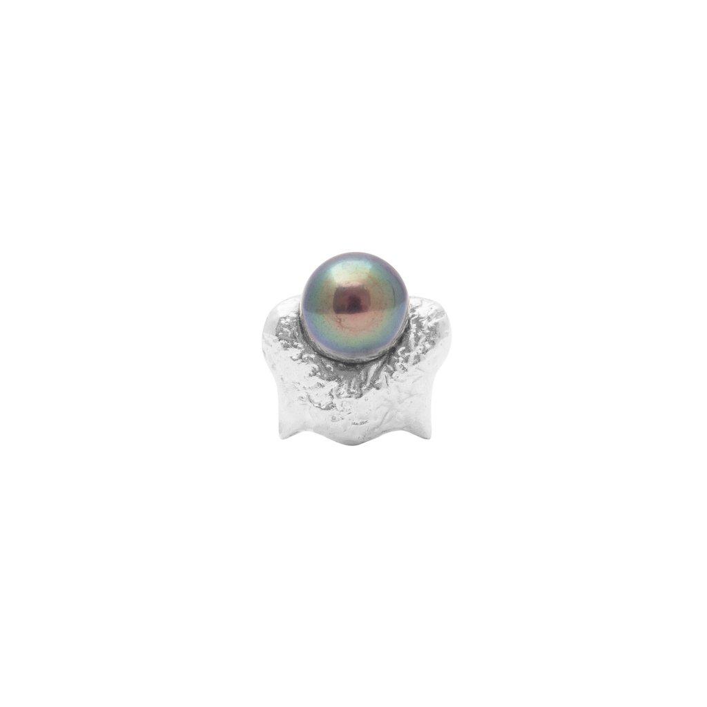 Mini blacktip top earring - 14kt white gold