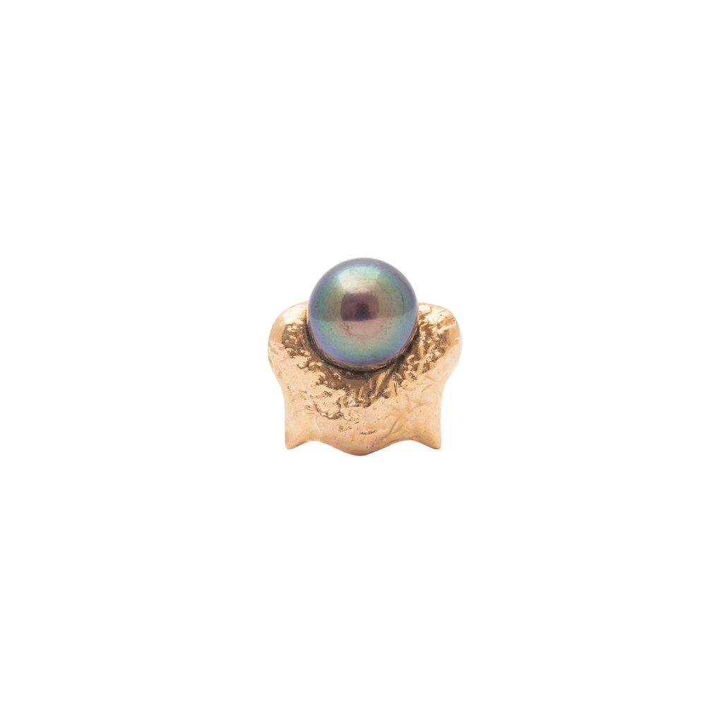 Mini blacktip top earring - gold-plated silver