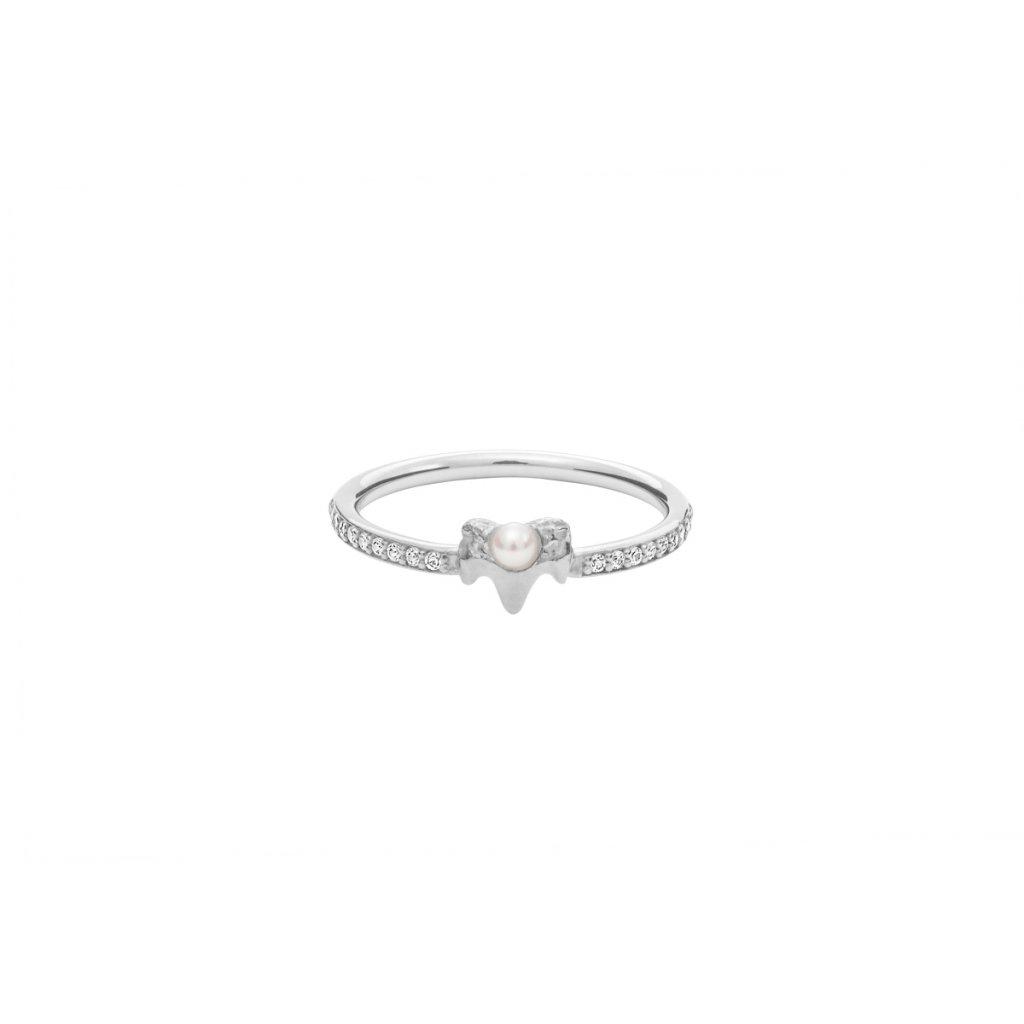 Petite A ring brilliant - 14kt white gold