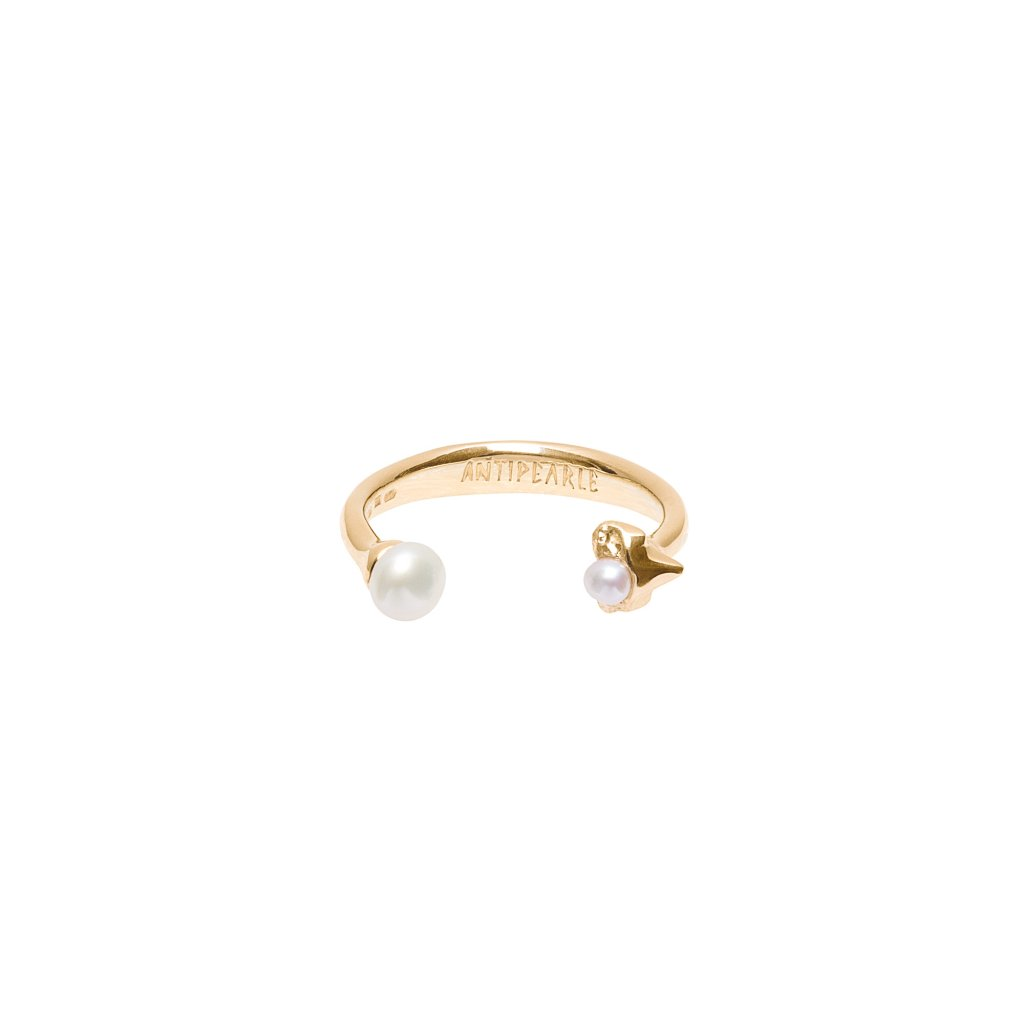 Petite A double pearl ring - gold-plated silver