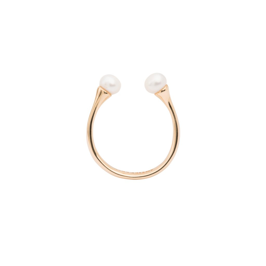 Double pearl ring - 14KT yellow Gold