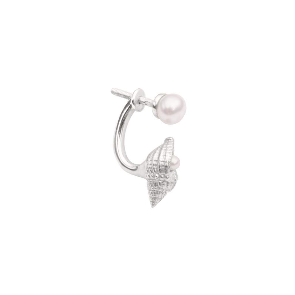 Concha double pearl earring B - silver