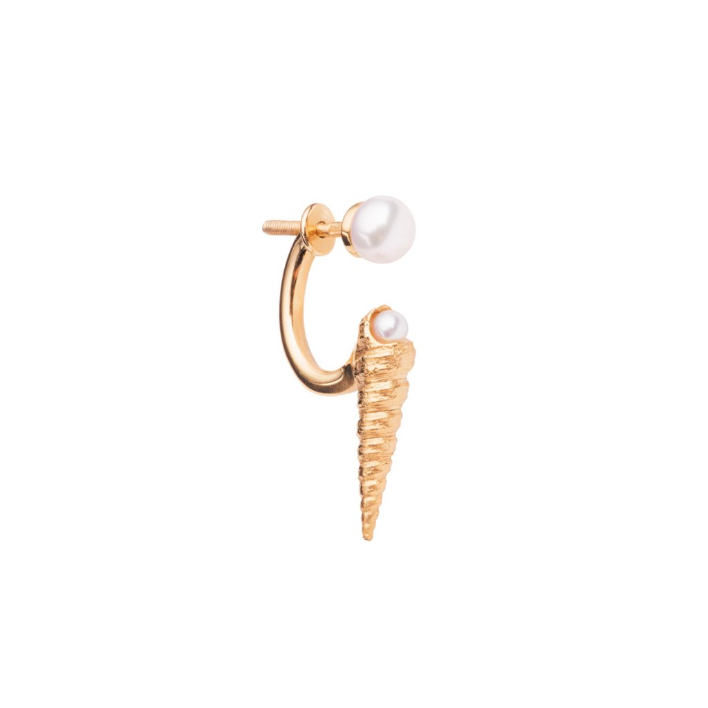 Concha double pearl earring A - gold-plated silver