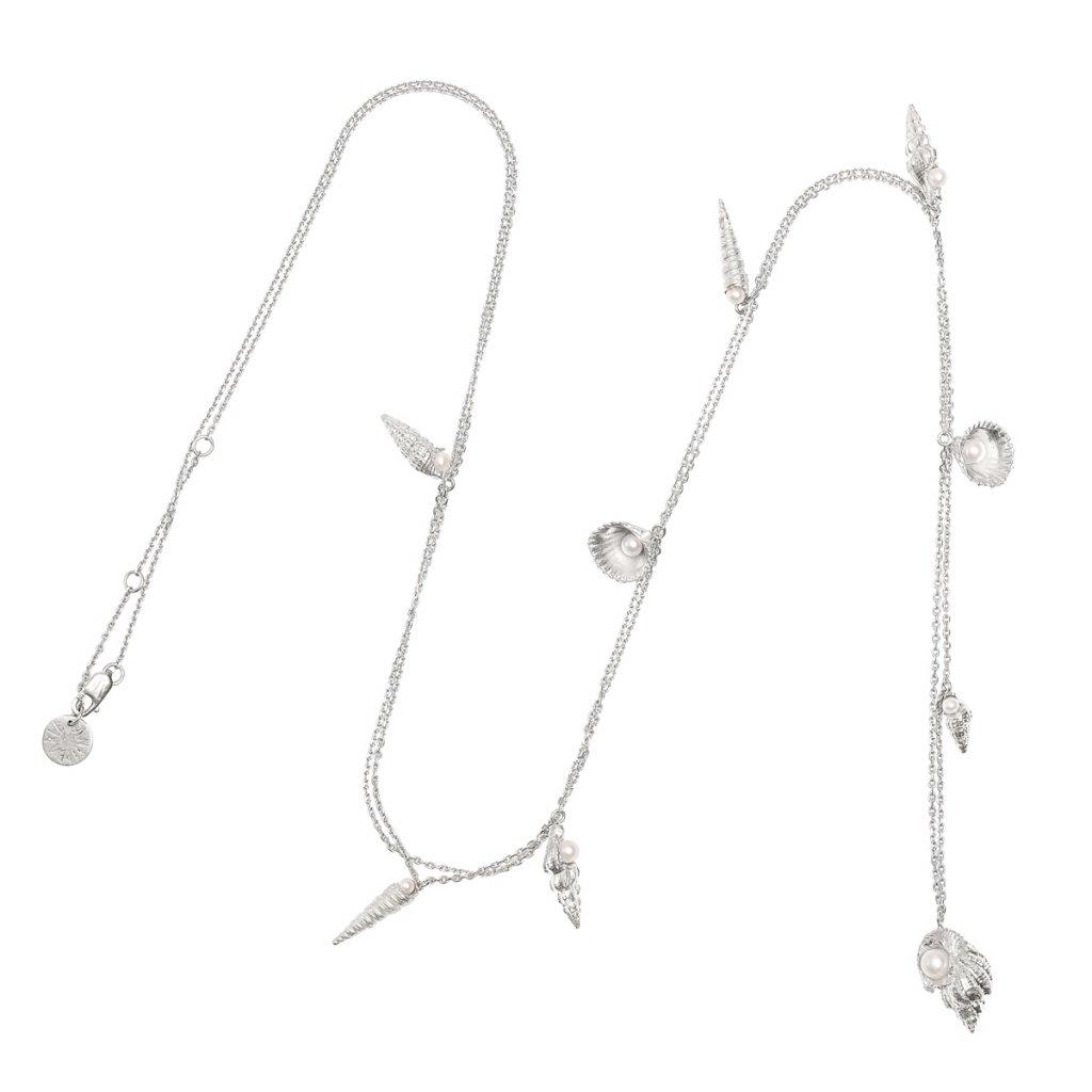 Concha multi pearl necklace - silver