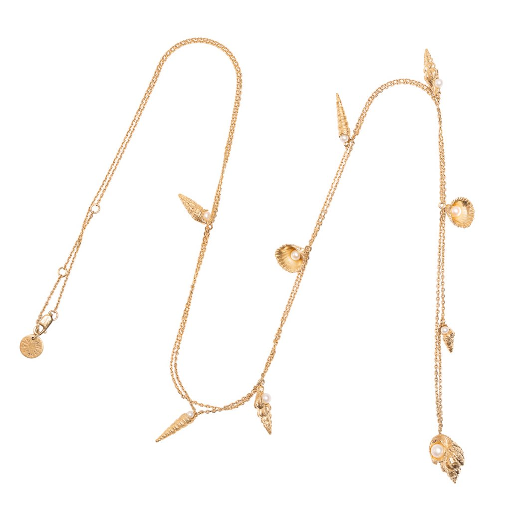 Concha multi pearl necklace - gold-plated silver