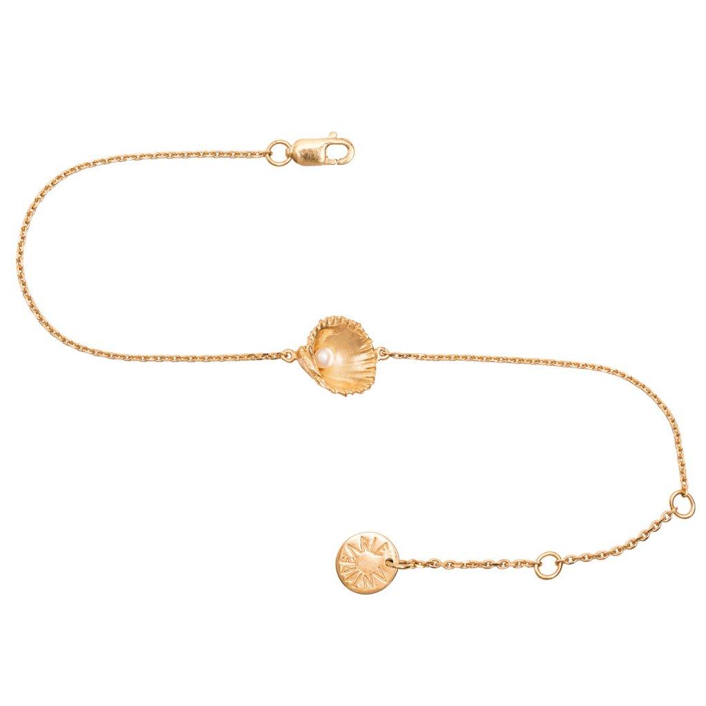 Concha pearl bracelet mini A - gold-plated silver