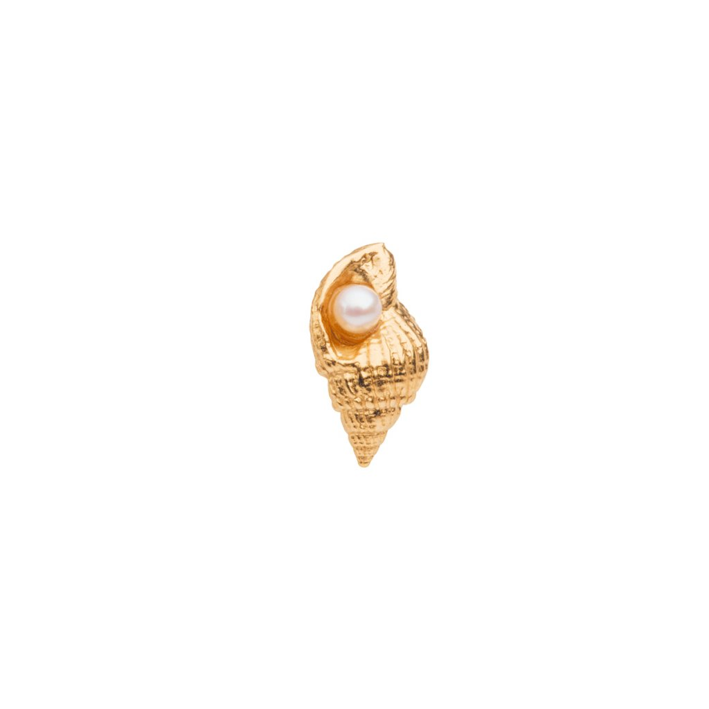 Concha pearl earring - gold-plated silver