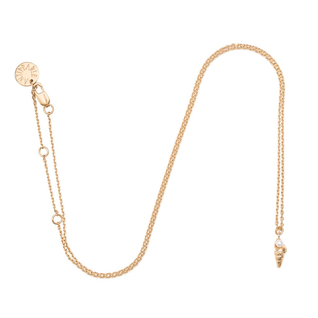 Concha pearl necklace mini D - gold-plated silver