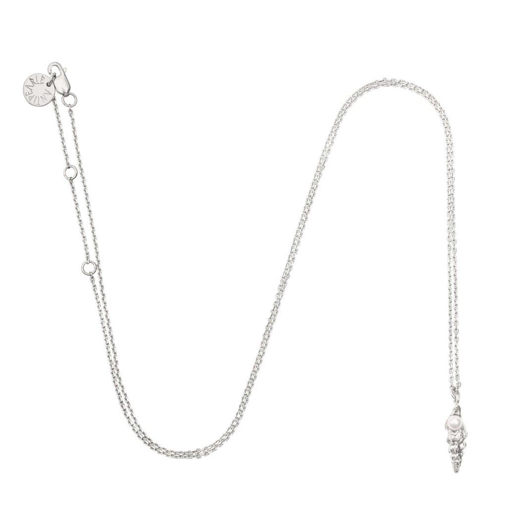 Concha pearl necklace small B - silver