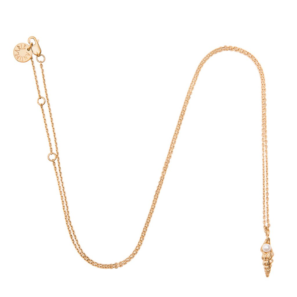 Concha pearl necklace small B - gold-plated silver