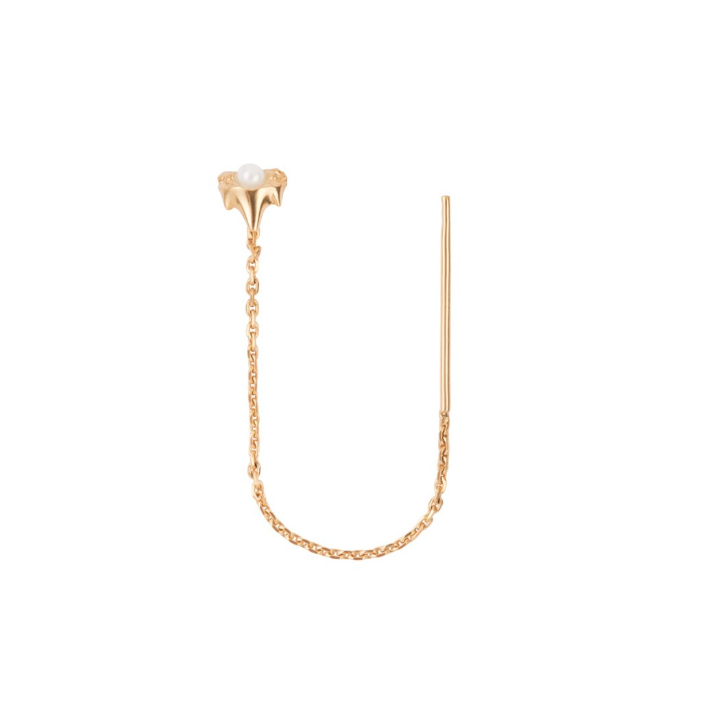 Petite A chain earring - gold-plated silver
