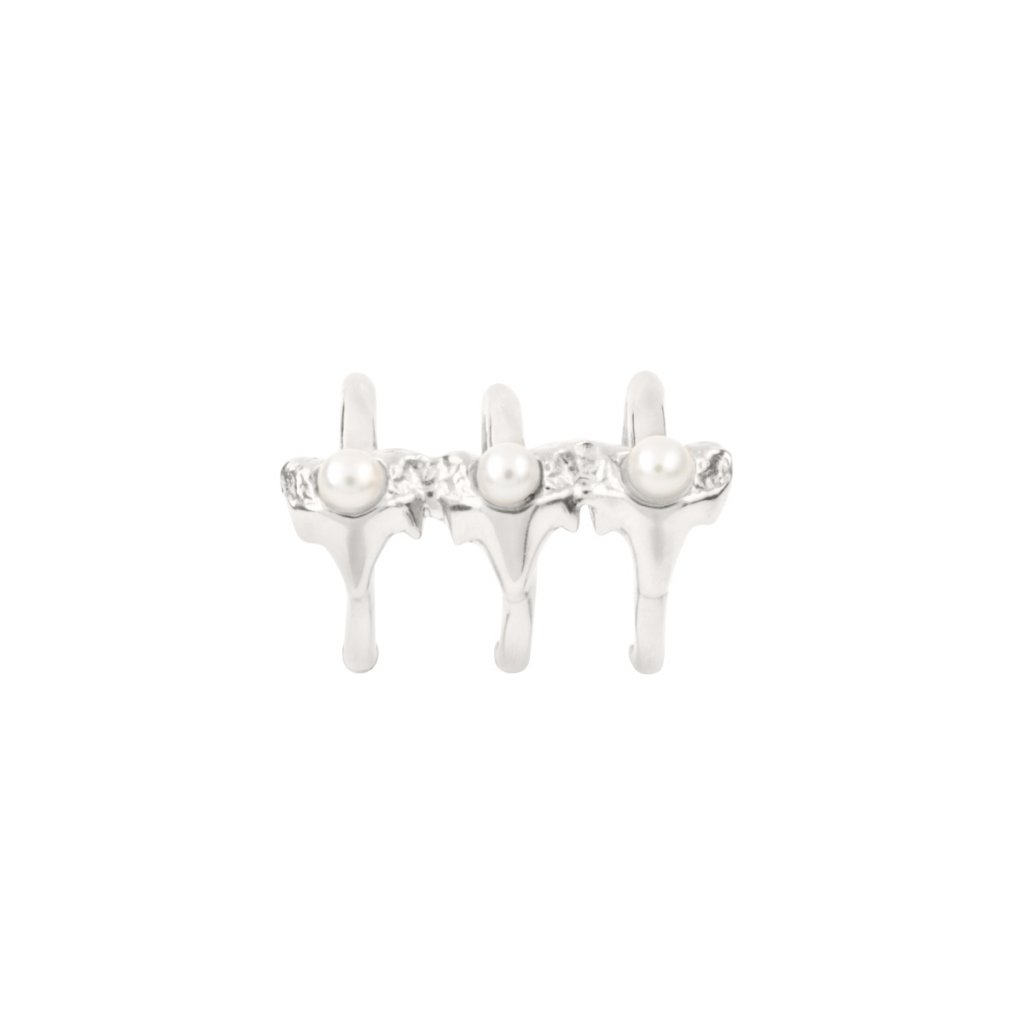 Petite A triple earcuff - silver