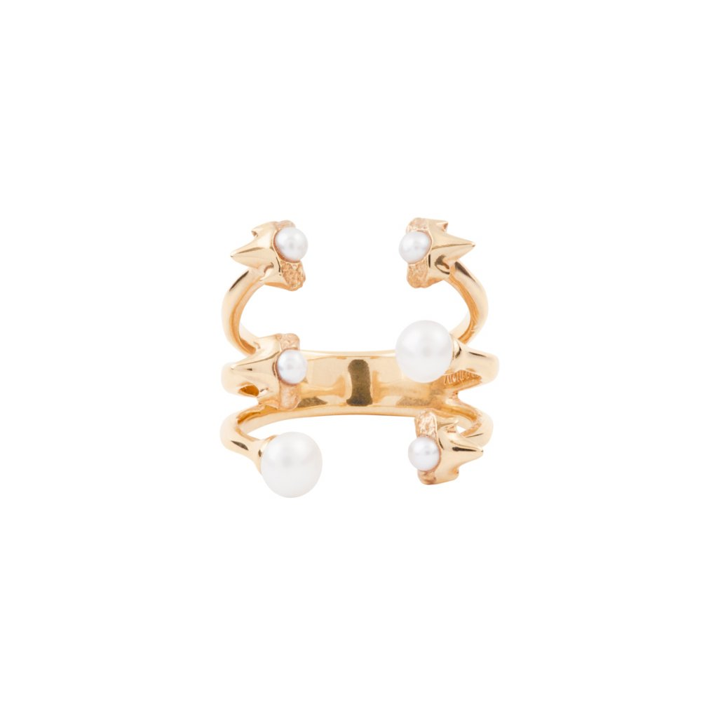 Petite A triple ring - gold-plated silver