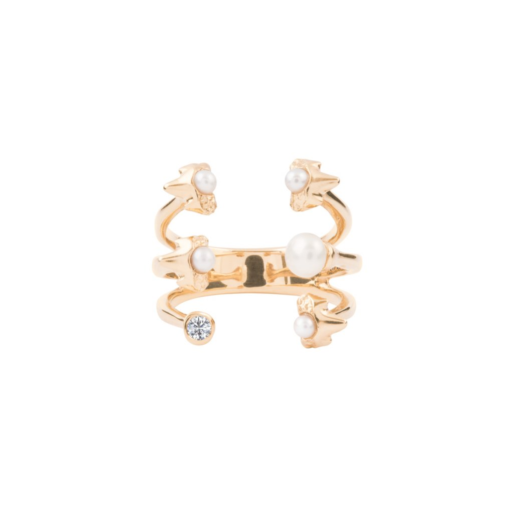 Petite A triple ring brilliant - 14KT YELLOW GOLD