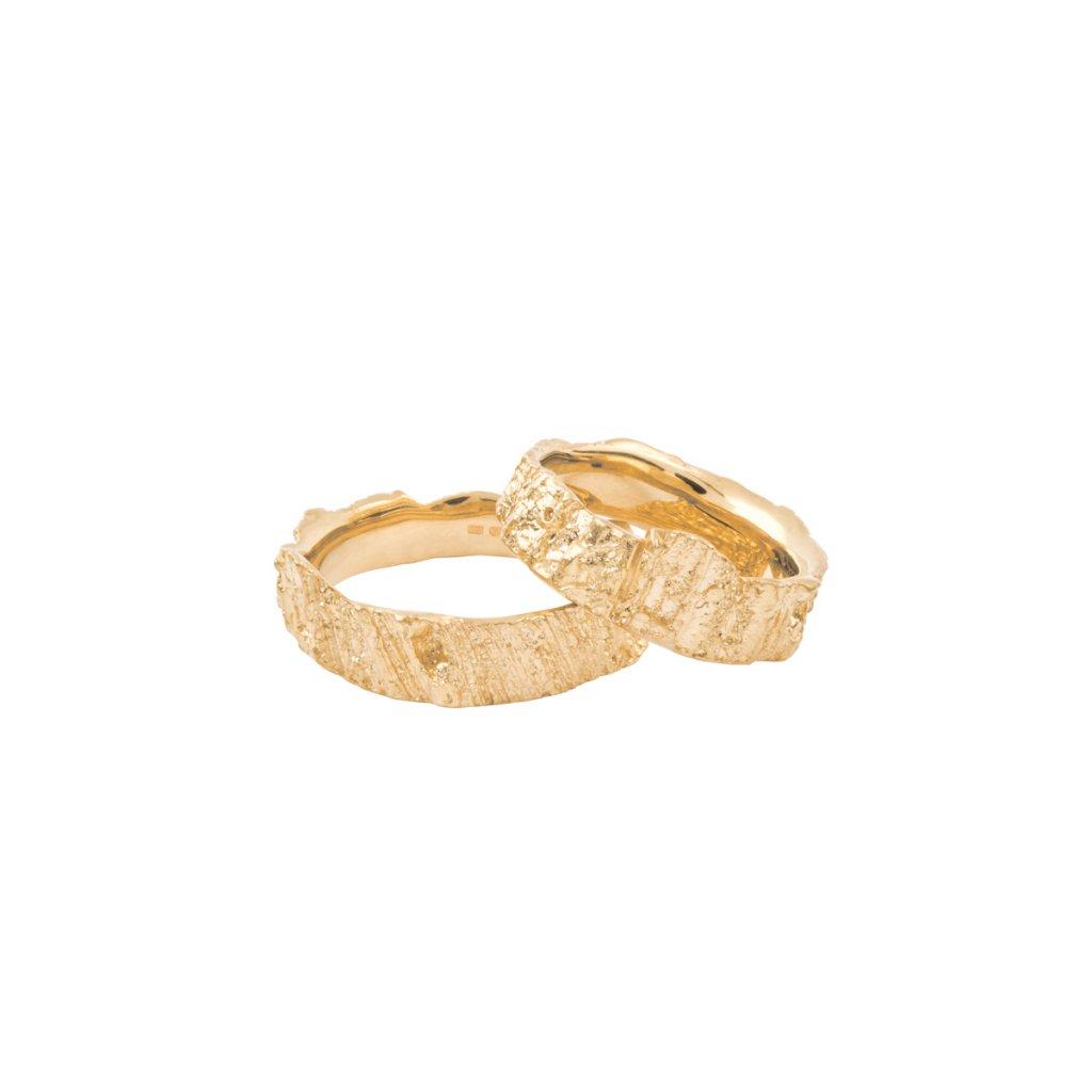 Aroha wedding rings - 14kt yellow gold