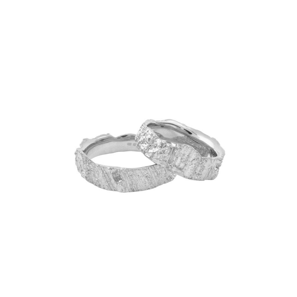 Aroha wedding rings - 14kt white gold