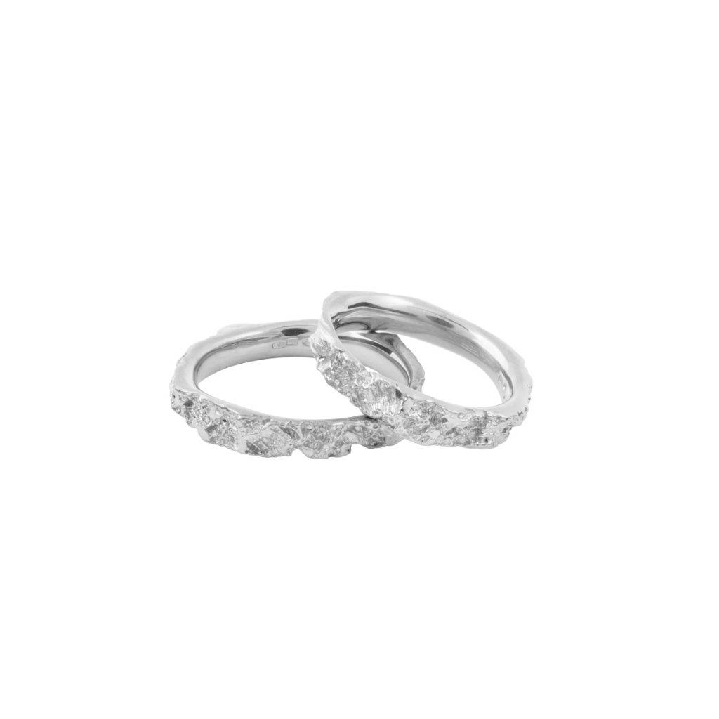 Agapi wedding rings - 14kt white gold
