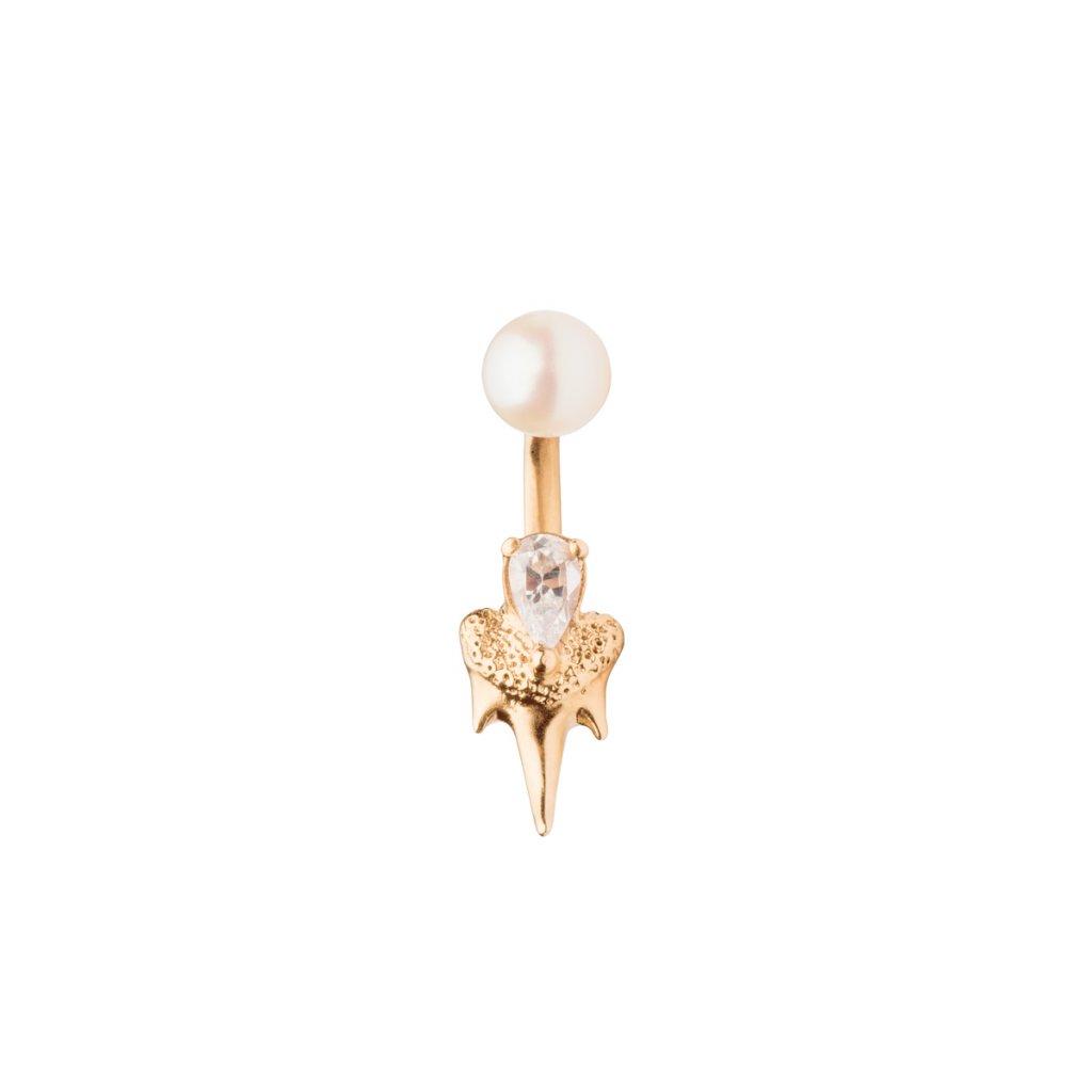 Mini double fang earring diamond - 14kt yellow gold