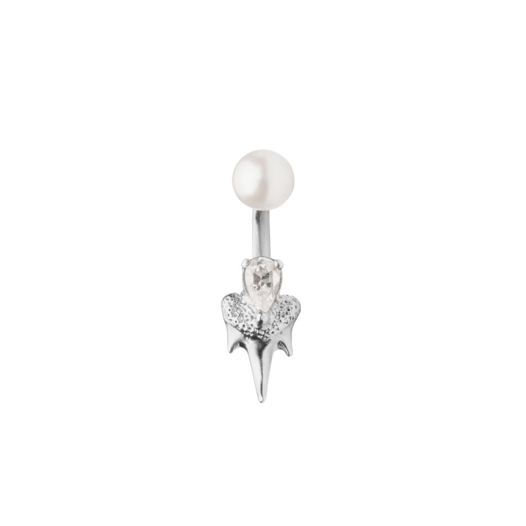 Mini double fang earring diamond - 14kt white gold