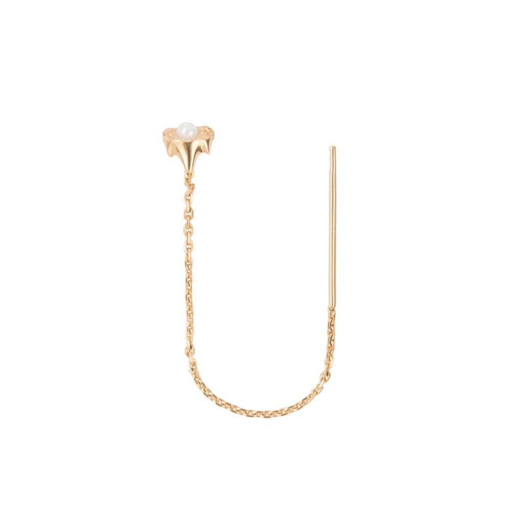 Petite A chain earring - 14 kt yellow gold