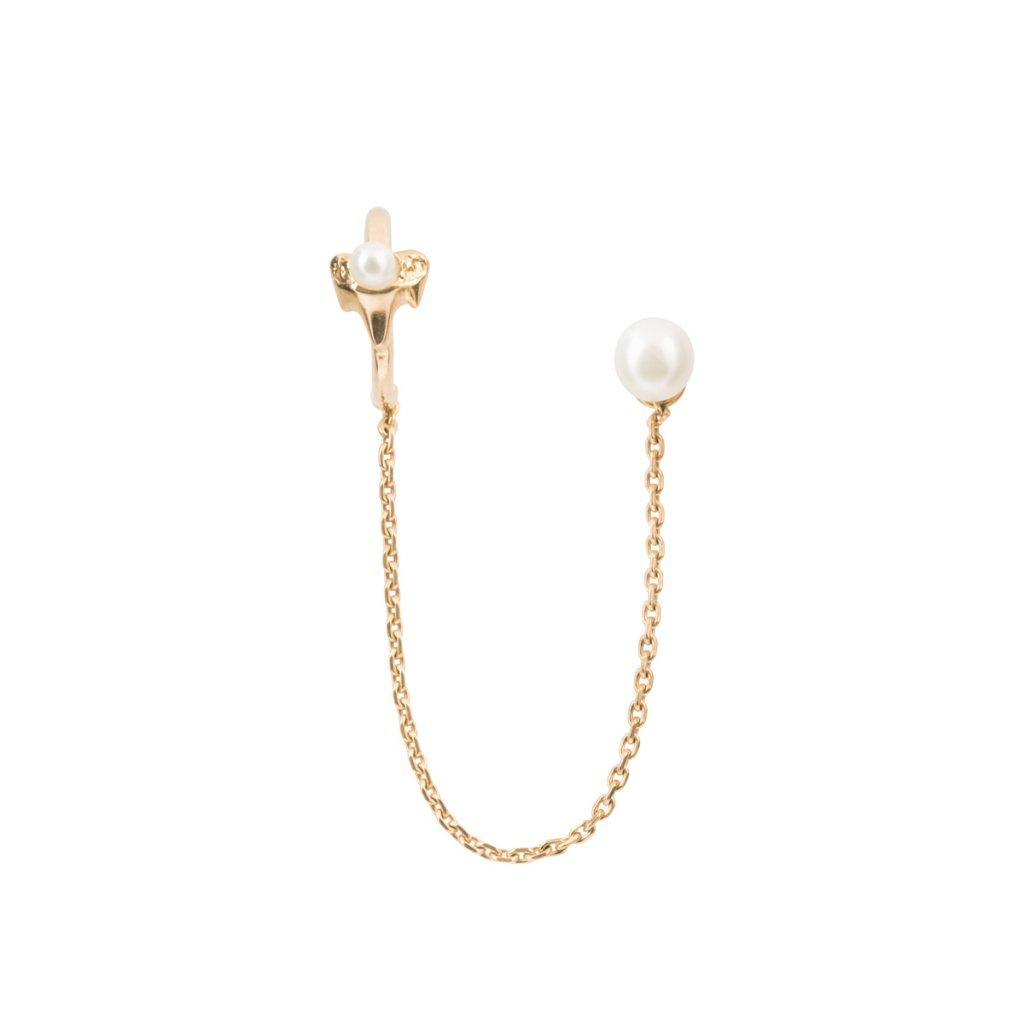 Petite A chain earcuff - 14 kt yellow gold