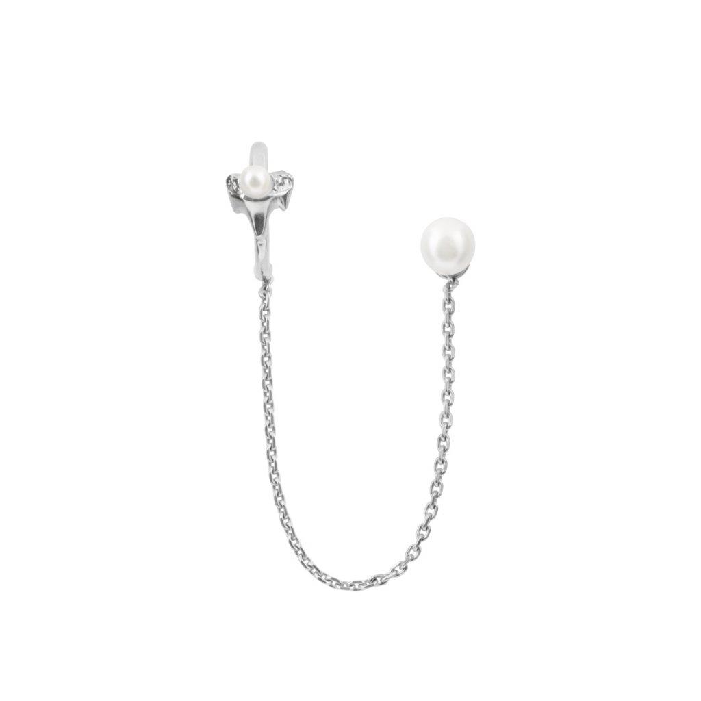Petite A chain earcuff - 14 kt white gold