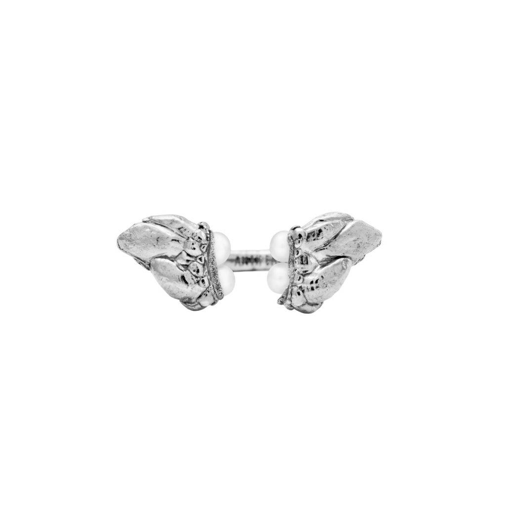 Lyra pearl ring - 14kt white gold
