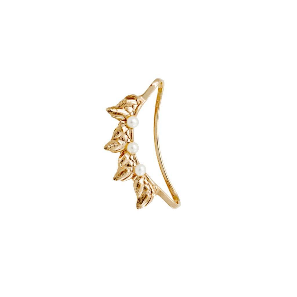 Sirene pearl earcuff - 14 kt yellow gold