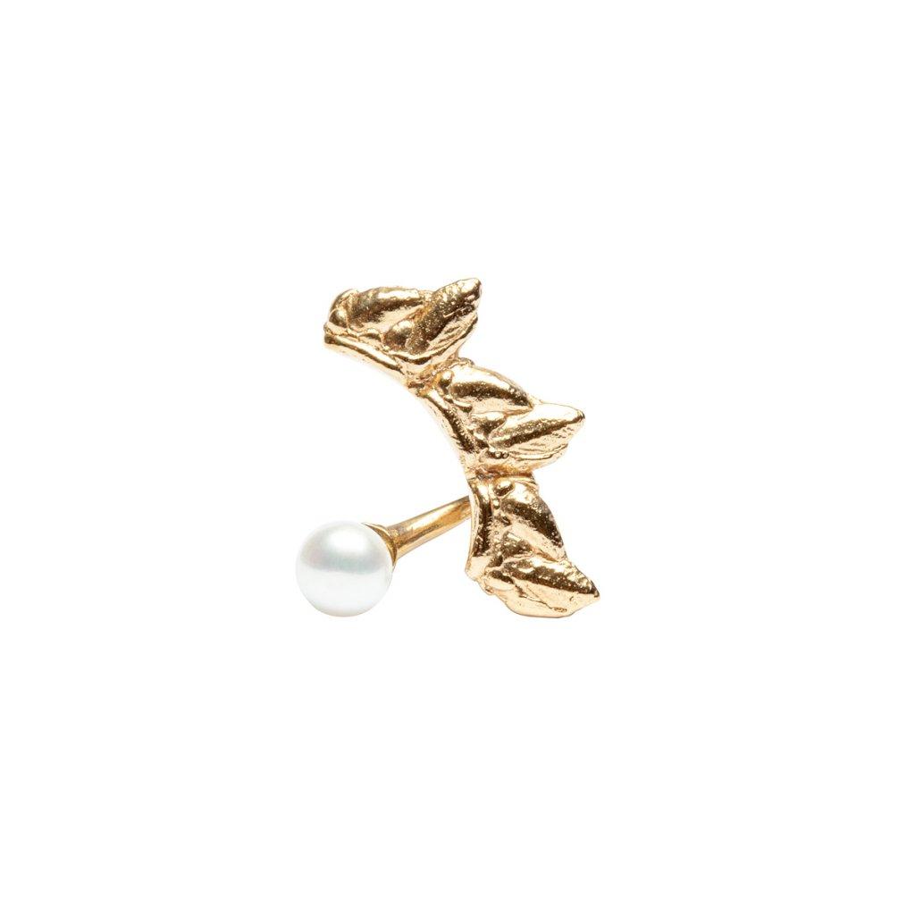 Sirene pearl earring - left - 14 kt yellow gold