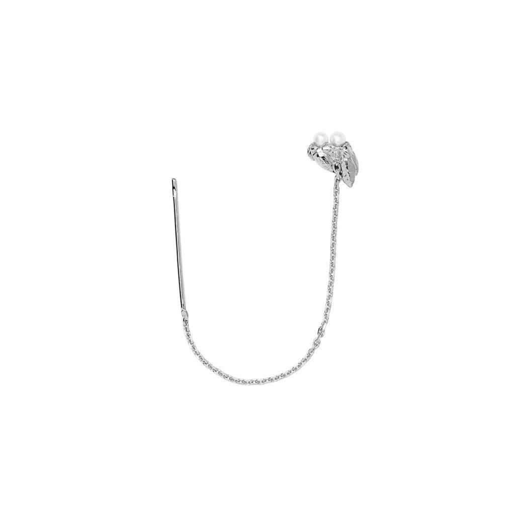 Ava chain pearl earring - 14 kt white gold