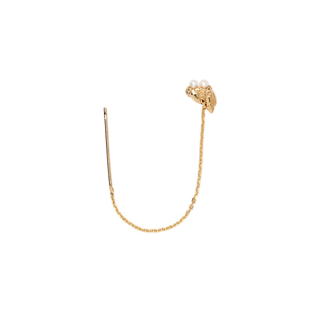 Ava chain pearl earring - 14 kt yellow gold