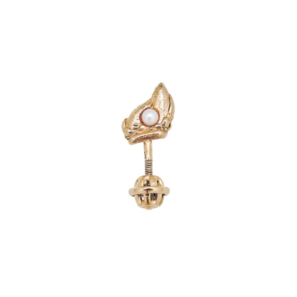 Ava pearl earring B - right - 14 kt yellow gold