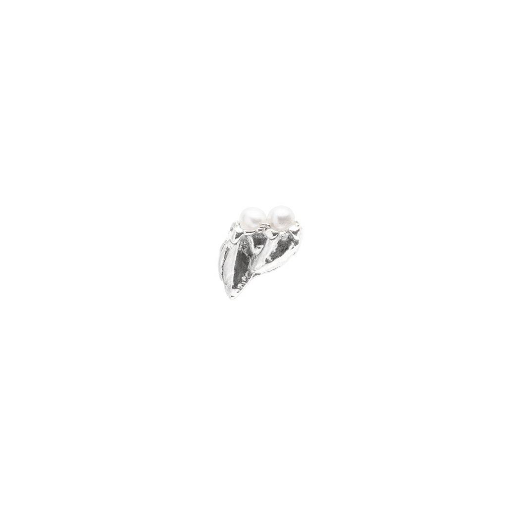 Ava pearl earring C - right - 14 kt white gold