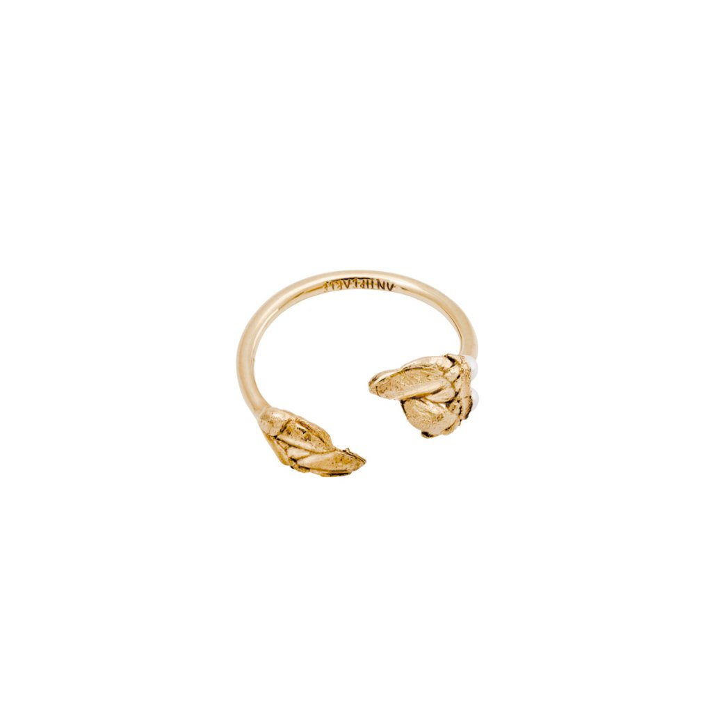 Halia pearl ring A - gold-plated silver