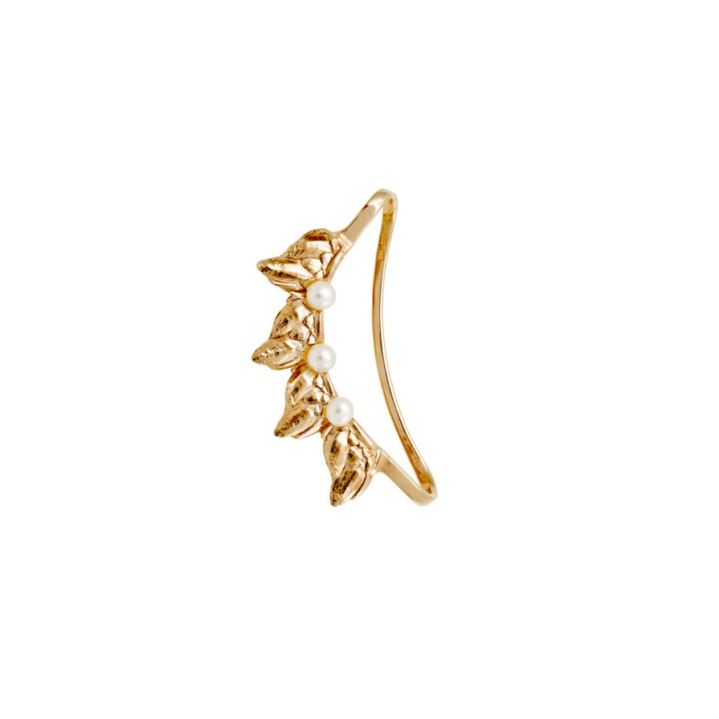 Sirene pearl earcuff - gold-plated silver