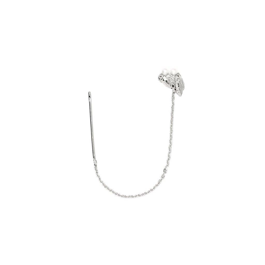 Ava chain pearl earring - silver