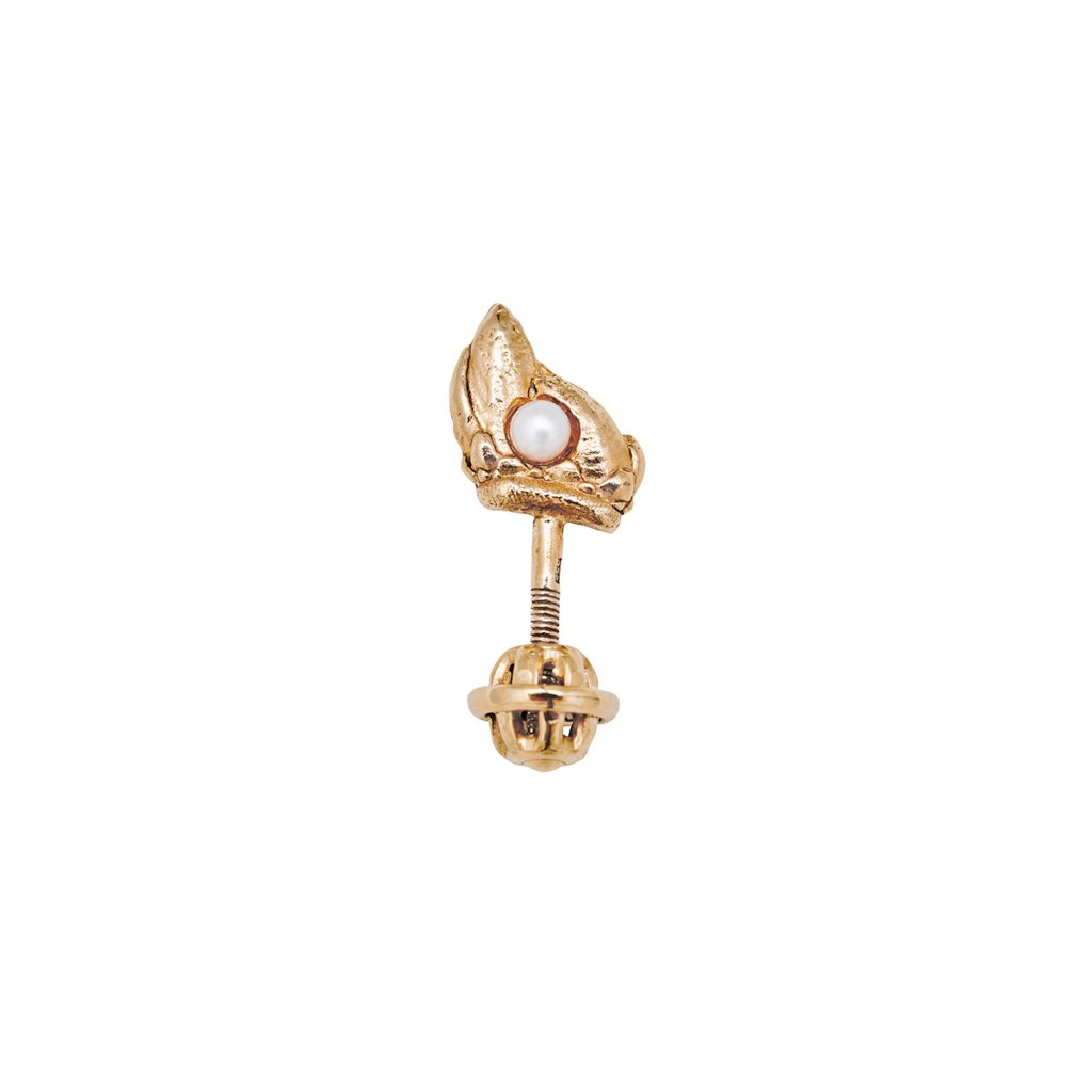 Ava pearl earring B - left - gold-plated silver
