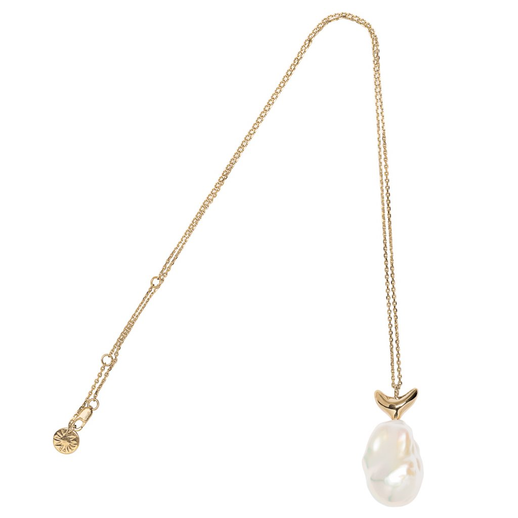 Baroque pearl necklace - 14kt yellow gold