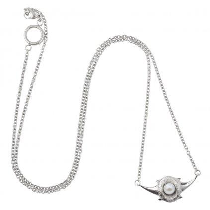 Zambezi chain pearl necklace-silver