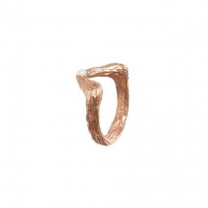 Big tip pearl ring-gold