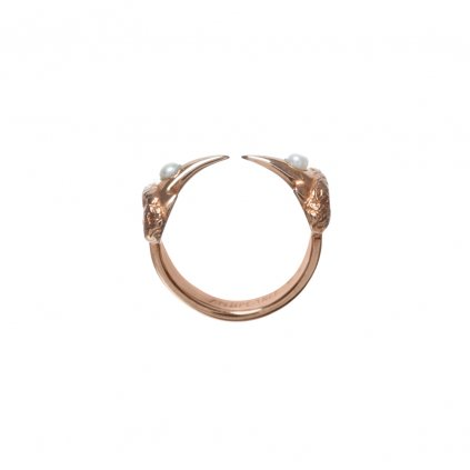 Hammerhead pearl ring - gold-plated silver