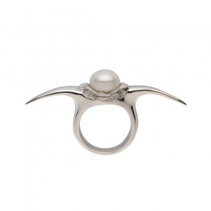 Fang down pearl ring-silver